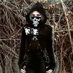 Skeleton Print Gothic Punk Hooded Crop Top with Mask 2
