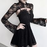 Gothic Set - Lace Crop Top with Long Sleeves and Dress 2