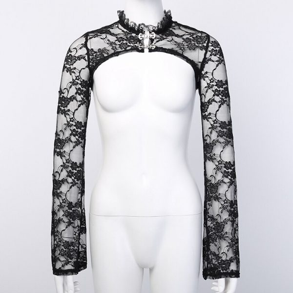 Gothic Set - Lace Crop Top with Long Sleeves and Dress 4