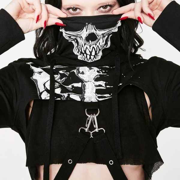 Skeleton Print Gothic Punk Hooded Crop Top with Mask 3
