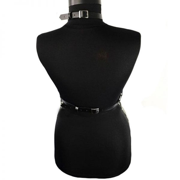 Gothic Punk Chest Leather Belt with Suspenders and Chains 3