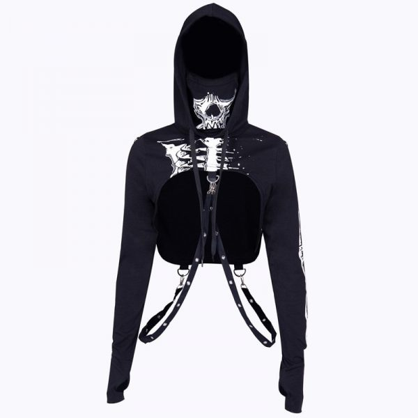 Skeleton Print Gothic Punk Hooded Crop Top with Mask 4