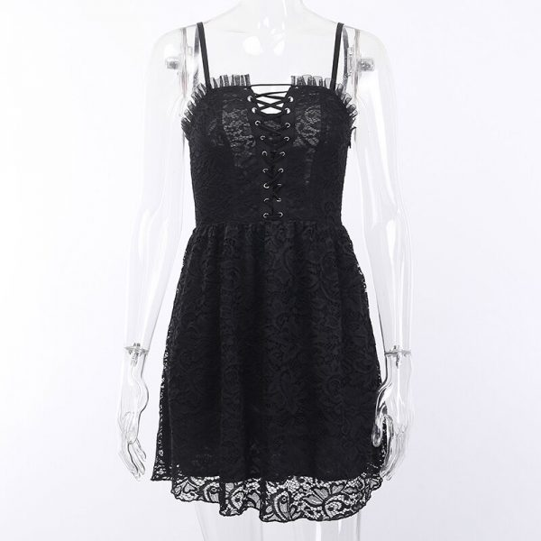 Gothic Set - Lace Crop Top with Long Sleeves and Dress 5