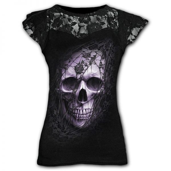 Goth Graphic T-Shirt Lace with Scull print  5