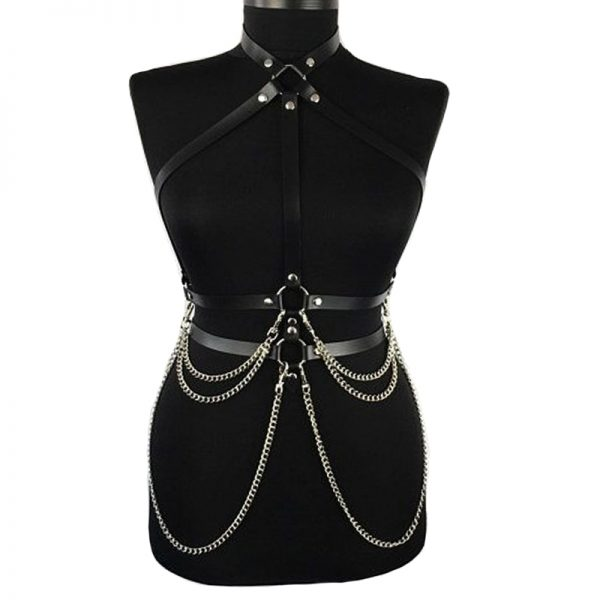 Gothic Punk Chest Leather Belt with Suspenders and Chains 2