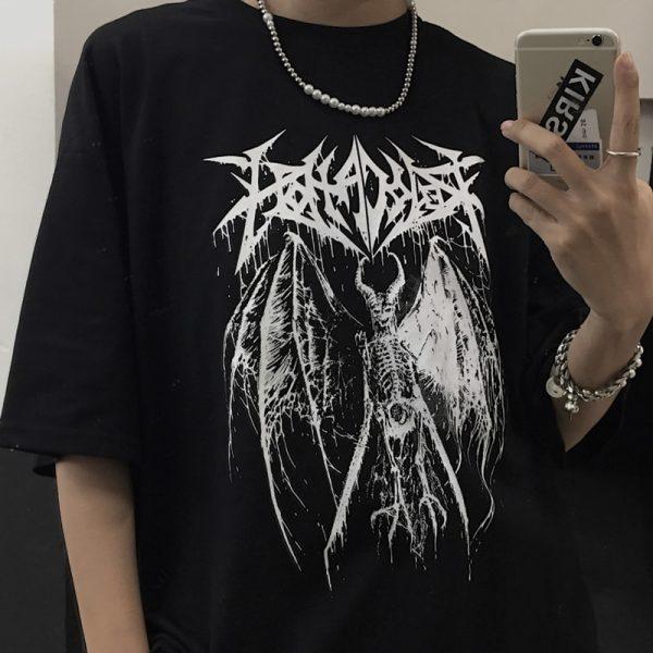 Gothic Punk Demon Print T-shirt  Plus Size 2