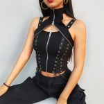Gothic Punk Sleeveless Top with Zipper neck and Lacing 1