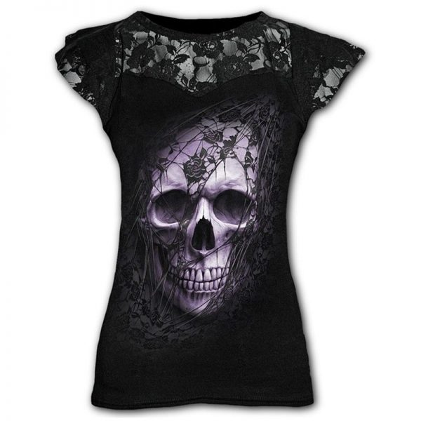 Goth Graphic T-Shirt Lace with Scull print  3