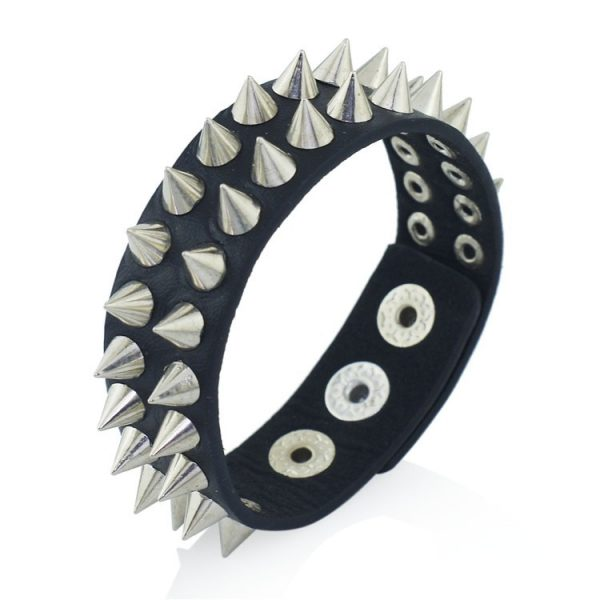 Gothic Punk Leather Cuff with Spikes Rivet 5