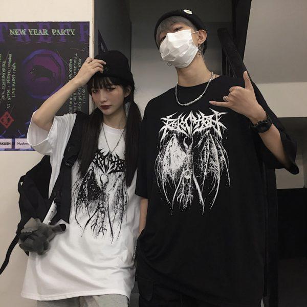 Gothic Punk Demon Print T-shirt  Plus Size 4