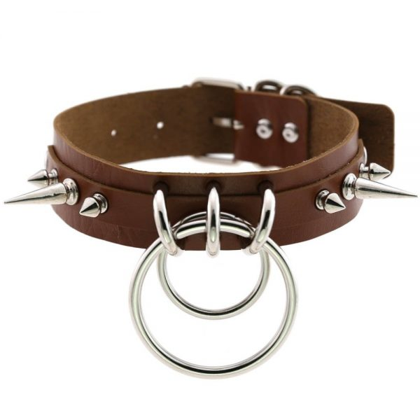 Punk Metal Collar with Spike and Rings 3
