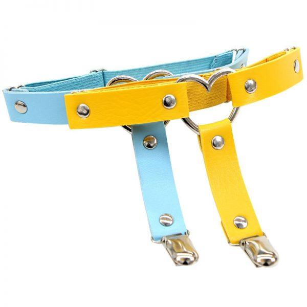 Women Punk Heart PU Leather Garter Belt 4