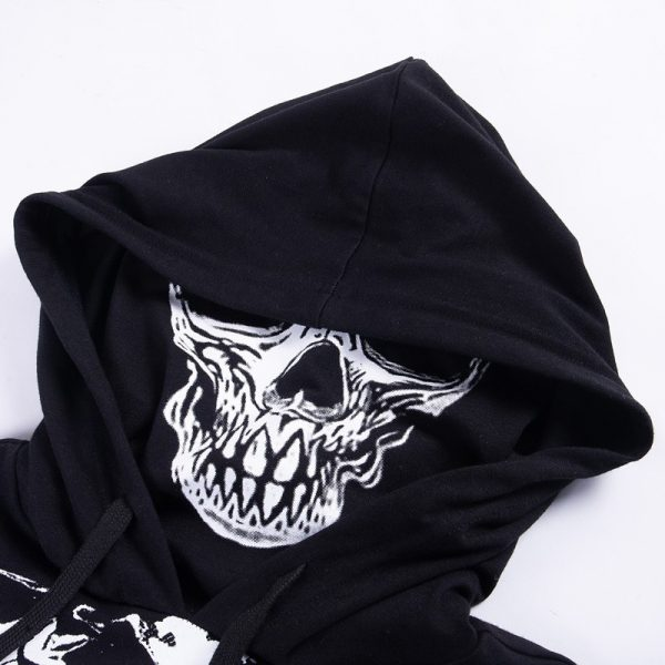 Skeleton Print Gothic Punk Hooded Crop Top with Mask 5