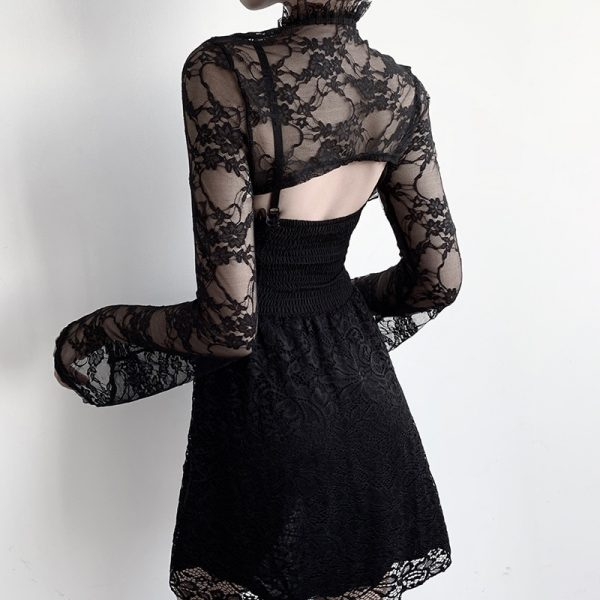 Gothic Set - Lace Crop Top with Long Sleeves and Dress 3