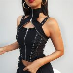Gothic Punk Sleeveless Top with Zipper neck and Lacing 2