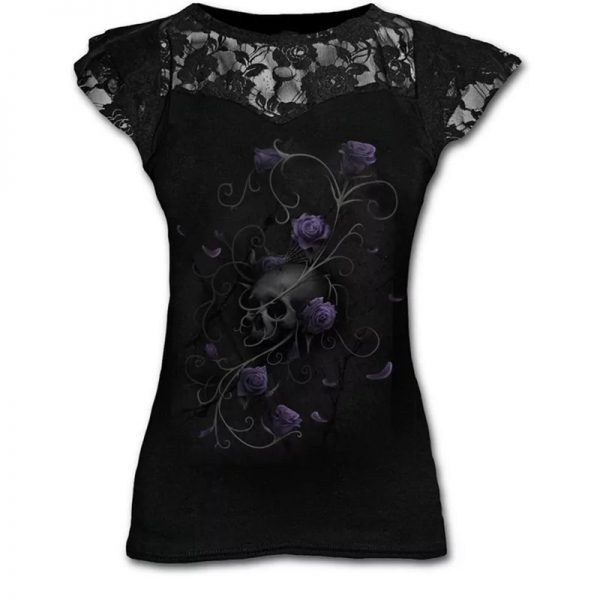 Goth Graphic T-Shirt Lace with Scull and Roses print 2