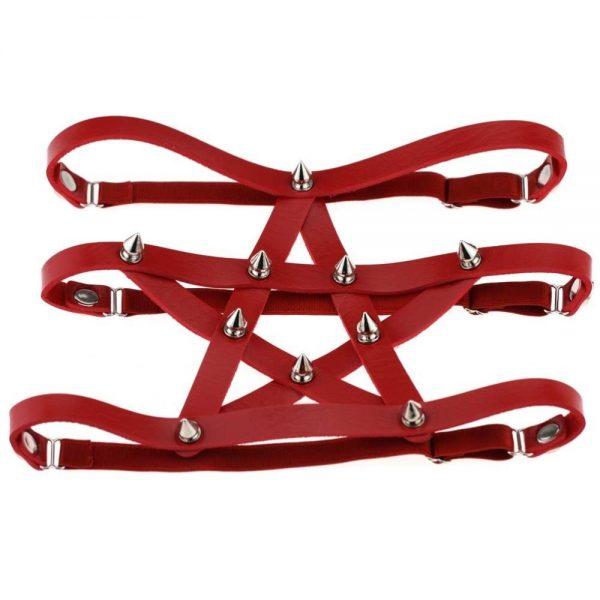 Gothic style Pentagram Garter belt with spikes 5