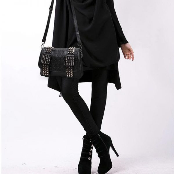 Gothic Punk Women Bag with  Rivets and Skull print  2