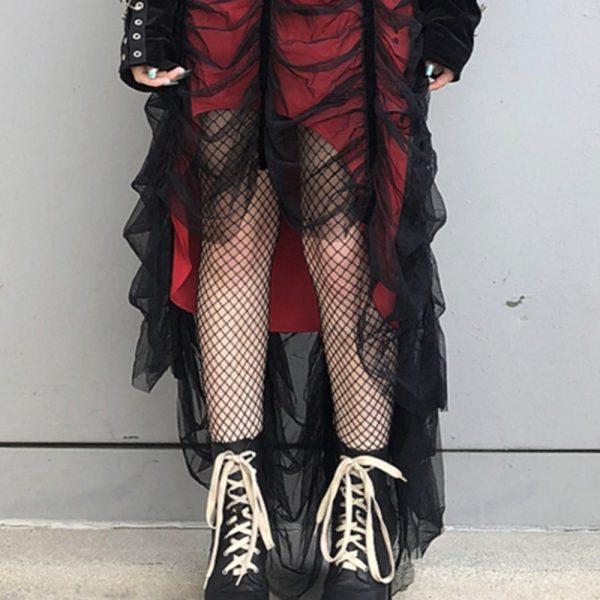 Mesh Pleated Gothic Punk Dress 3
