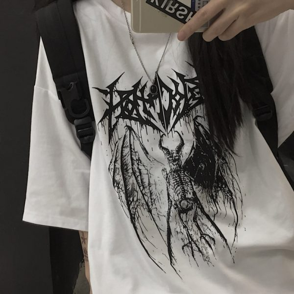 Gothic Punk Demon Print T-shirt  Plus Size 3