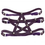 Gothic style Pentagram Garter belt with spikes 22