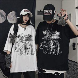 Gothic Punk Demon Print T-shirt  Plus Size 6