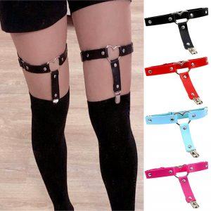 Women Punk Heart PU Leather Garter Belt 1