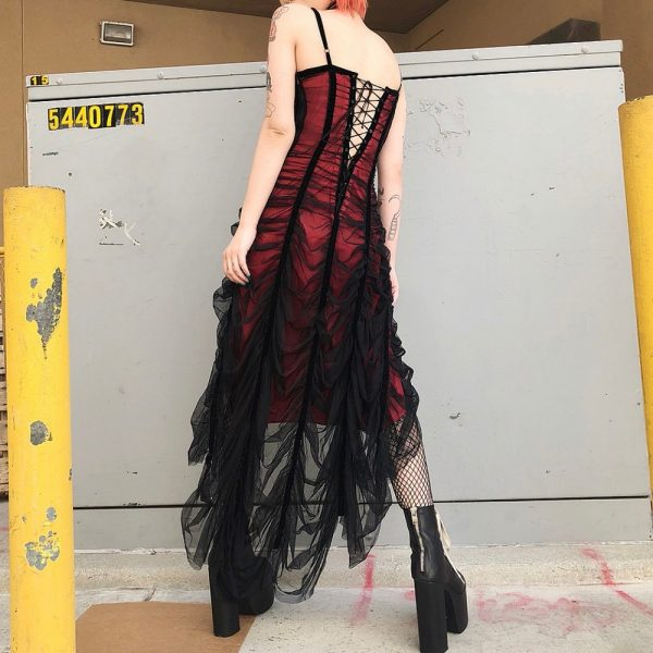 Mesh Pleated Gothic Punk Dress 1
