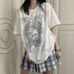 Anime T-shirt with grey cartoon print 1