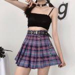 Harajuku Plaid Skirt with Chain 4