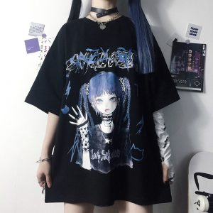Gothic Aesthetic Loose T-shirt with Anime print 1