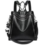 Genuine Leather Backpack with Rivets  3