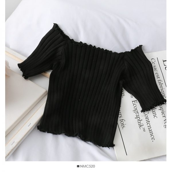 Knitting Crop Tops Off Shoulder  7