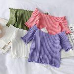 Knitting Crop Tops Off Shoulder  15