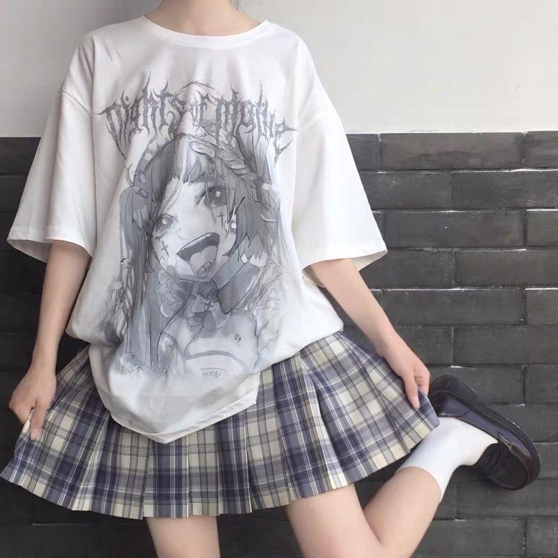 Anime T-shirt with grey cartoon print 4