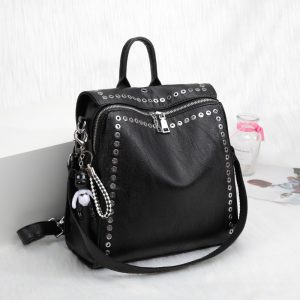 Genuine Leather Backpack with Rivets  1