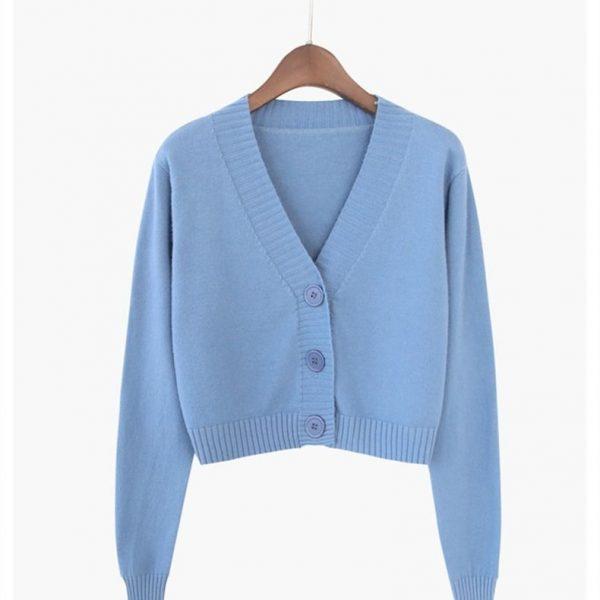 Knitted V neck Crop Cardigan  5