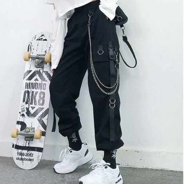 Harajuku Cargo Pants With Chain 2