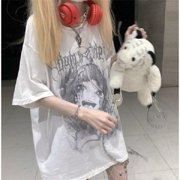 Anime T-shirt with grey cartoon print 6