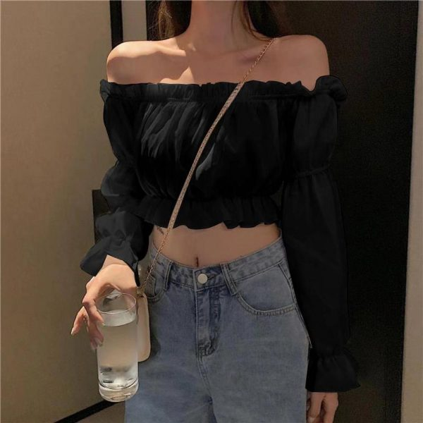 Off Shoulder Crop Top with Long Puff Sleeve 4
