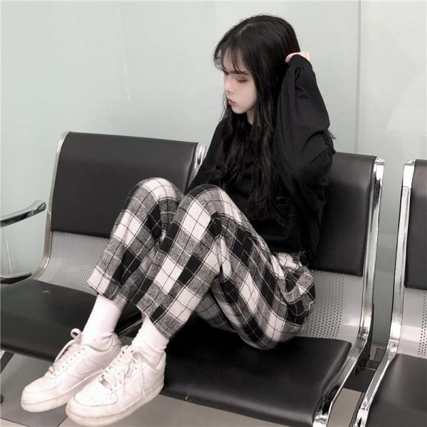 Harajuku Loose Plaid Pants 2