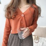 Knitted V neck Crop Cardigan  2