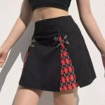 A-Line Gothic Skirt with Plaid inserts 9
