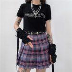 Harajuku Plaid Skirt with Chain 3