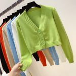 Knitted V neck Crop Cardigan  1