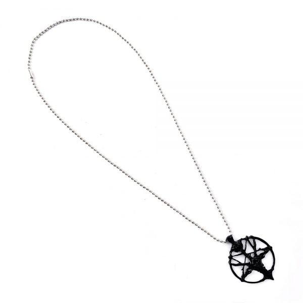 Chain Necklace with Goat Head Pentagram Pendant  2