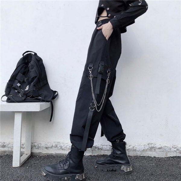 Harajuku Cargo Pants With Chain 5