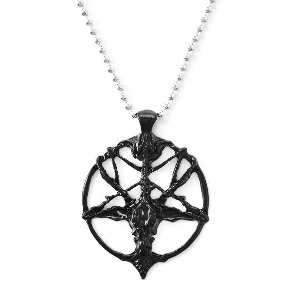 Chain Necklace with Goat Head Pentagram Pendant  4