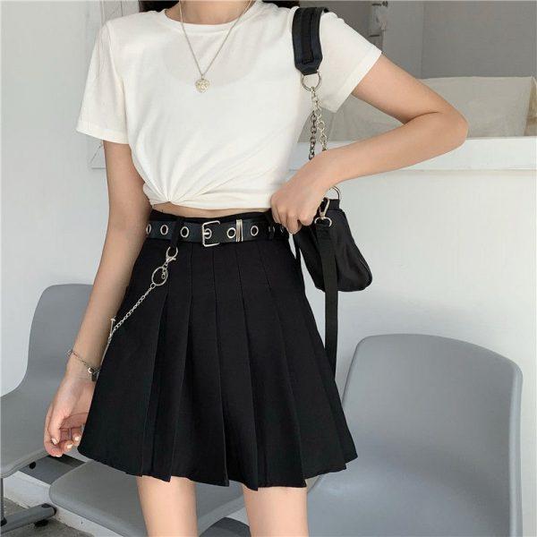 Harajuku Plaid Skirt with Chain 5