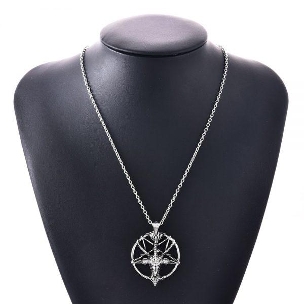 Chain Necklace with Goat Head Pentagram Pendant  5